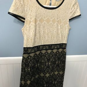 Leather trim and lace dress